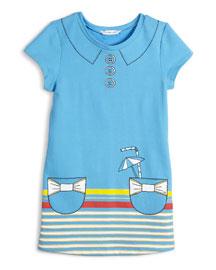 Short-Sleeve Collar & Pocket Trompe l'Oeil Dress, Blue, Size 4-5