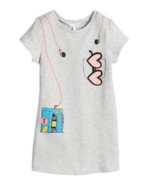 Short-Sleeve Tape Deck Trompe l'Oeil Dress, Gray, Size 6-10