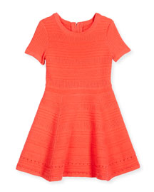 Short-Sleeve Jacquard Fit-and-Flare Dress, Fluo Melon, Size 4-7