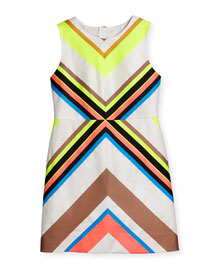 Sleeveless Mitered-Stripe Sheath Dress, Multicolor, Size 8-14