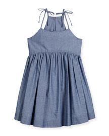 Sleeveless Chambray Tank Dress, Denim, Size 8-14