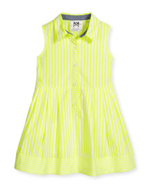 Sleeveless Striped A-Line Shirt, Citron, Size 8-14