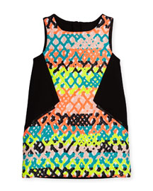 Sleeveless Jacquard Zip-Trim Shift Dress, Multicolor, Size 8-14