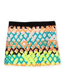 Jacquard Mini Skirt, Multicolor, Size 8-14