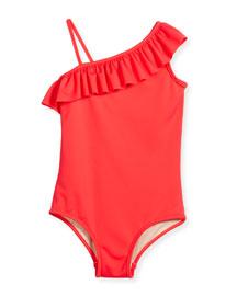 Ruffle-Trim Italian Solid One-Piece Swimsuit, Watermelon, Size 4-7