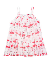 Sleeveless Woven Flamingo-Print Coverup, White/Pink, Size 8-14