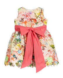 Sleeveless Floral Lace A-Line Dress, Multicolor, Size 4-6