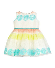 Sleeveless Rosette Tulle Dress, White, Size 12M-3