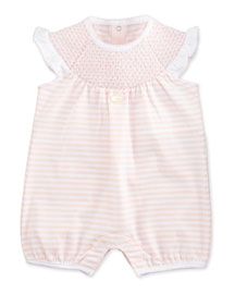 Sleeveless Striped Ruffle-Trim Playsuit, Pink/White, Size 3-12 Months