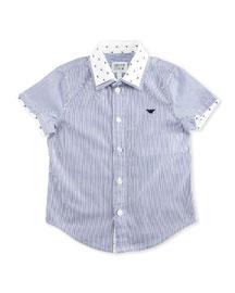 Short-Sleeve Striped Poplin Shirt, Ash, Size 2-8