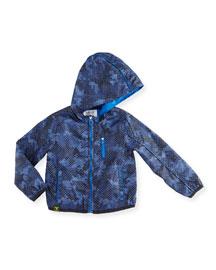 Hooded Micro-Logo Camo Jacket, Blue, Size 2-8