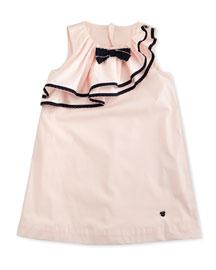 Sleeveless Ruffle-Trim Shift Dress, Orchid, Size 2-8