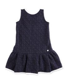 Sleeveless Heart-Jacquard Stretch Dress, Indigo, Size 2-8