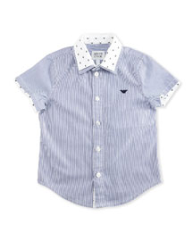 Short-Sleeve Striped Poplin Shirt, Ash, Size 10-14