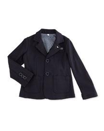 Jersey-Knit Tailored Blazer, Indigo, Size 10-14