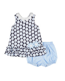 Sleeveless Pique Daisy Dress w/ Bloomers, Navy/White, Size 3-24 Months