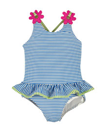 Striped One-Piece Skirted Swimsuit, Blue/White, Size 2-6X