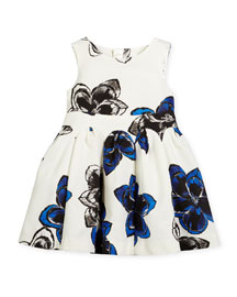 Sleeveless Twill Magnolia A-Line Dress, White/Sapphire, Size 4-7
