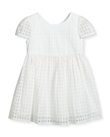 Lucy Gingham A-Line Dress, White, Size 4-7