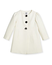 Italian Cady Three-Button Coat, White, Size 8-14