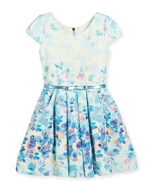 Sky's the Limit Cap-Sleeve Floral Dress, Blue, Size 7-16