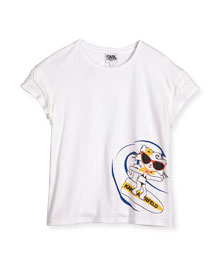Fringe-Trim Cat Surfing Jersey Tee, White, Size 6-10