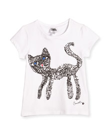 Short-Sleeve Cat Scribble Jersey Tee, White, Size 6-10