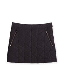 Quilted Zip-Trim Mini Skirt, Black, Size 6-10