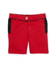Contrast-Trim Stretch Twill Shorts, Crimson, Size 6-10