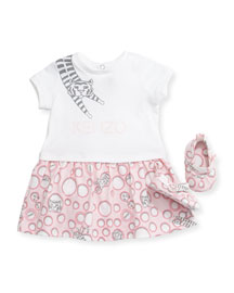 Short-Sleeve Printed Dress & Shoes, Light Pink, Size 6-18 Months