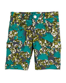 Tiger-Print Cargo Bermuda Shorts, Emerald, Size 6-12