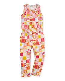Printed Poplin Racerback Jumpsuit, Pink, Size 5