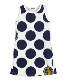 Sleeveless Polka-Dot Shift Dress, White/Blue, Size 6-12
