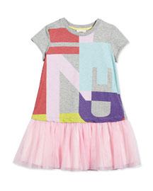 Jersey & Tulle Logo Dress, Gray Melange, Size 2-5