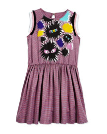 Sleeveless Striped Monster A-Line Dress, Pink/Gray, Size 2-5