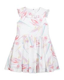 Sleeveless Birds of Paradise Pleated Dress, White/Multicolor, Size 6-9