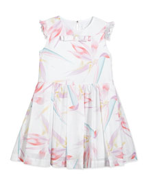 Sleeveless Birds of Paradise Pleated Dress, White/Multicolor, Size 10-12