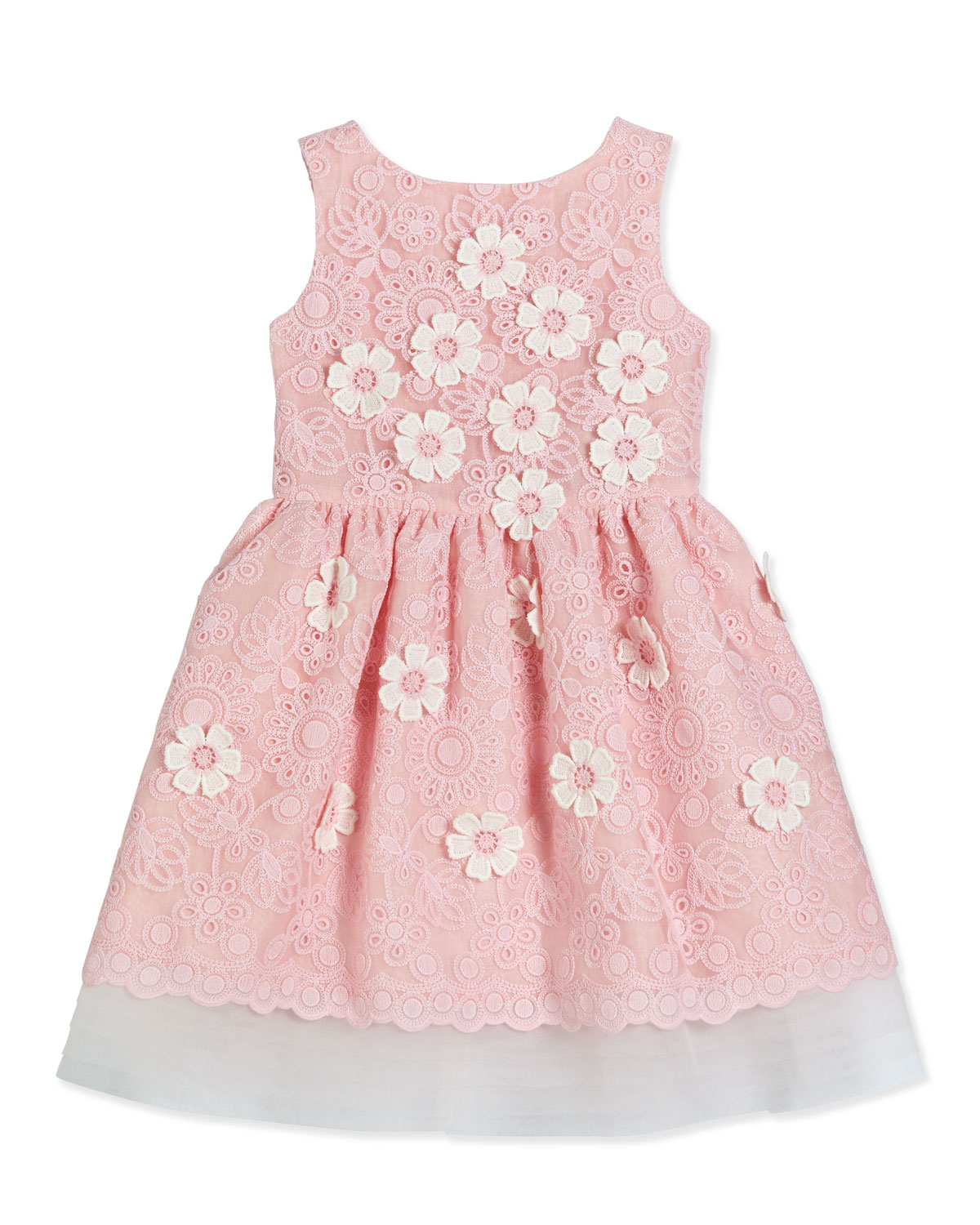 Charabia Sleeveless Floral Lace A-Line Dress, Pink, Size 2-6, Girl's, Size: 5