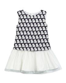 Sleeveless Cat-Print Shift Dress, Navy, Size 2-6