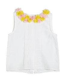 Sleeveless Poplin Rosette Blouse, White, Size 2-6