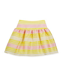 Striped Mesh A-Line Skirt, Yellow/Pink, Size 4-10
