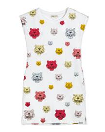 Tiger-Print Jersey T-Shirt Dress, White, Size 6-12