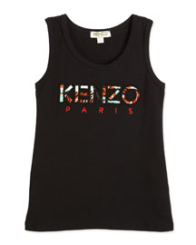 Ribbed Embroidered Cotton-Blend Tank, Black, Size 14-16