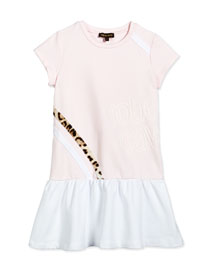 Cap-Sleeve Dropped-Waist Jersey Dress, Light Pink, Size 7-10