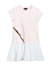 Cap-Sleeve Dropped-Waist Jersey Dress, Light Pink, Size 7-10