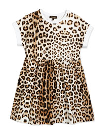 Leopard-Print Jersey Dress, Tan, Size XS-L