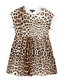 Leopard-Print Jersey Dress, Tan, Size XS-L