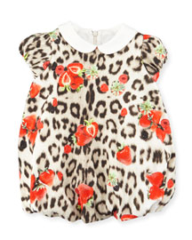 Collared Leopard-Print Bubble Dress, Tan, Size 12-24 Months