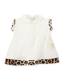 Leopard-Trim Collared Shift Dress, White, Size 12-24 Months