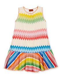 Sleeveless Knit Dropped-Waist Dress, Multicolor, Size 6-10